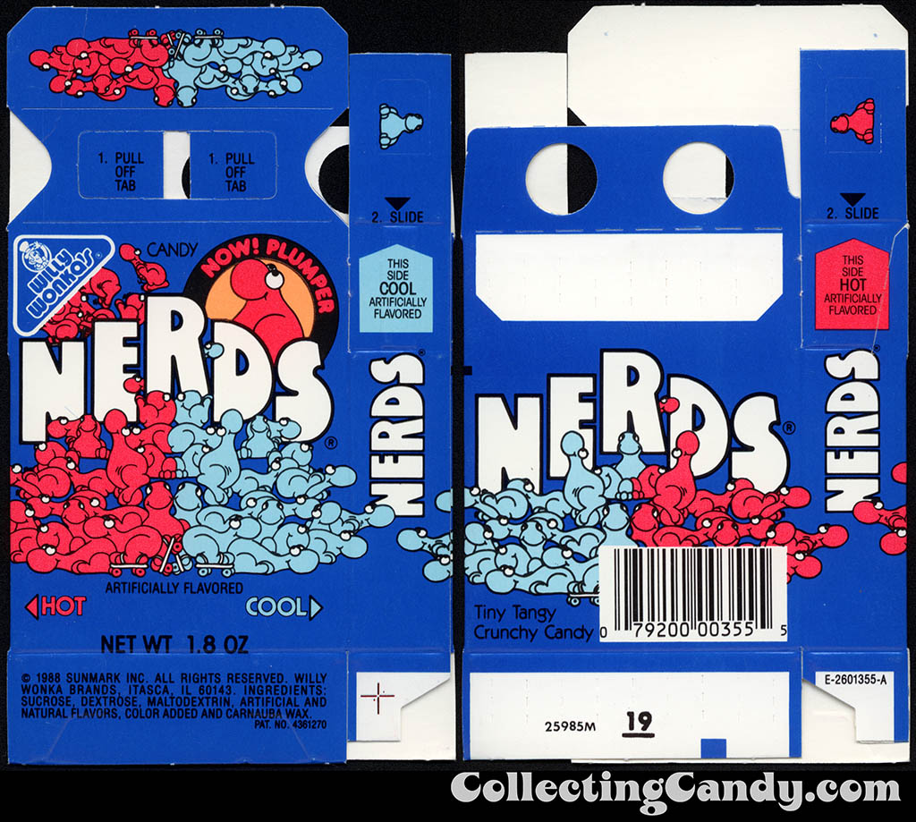 Sunmark - Willy Wonka Brands - Nerds - Hot & Cool - Now Plumper - 1.8 oz candy box - 1988