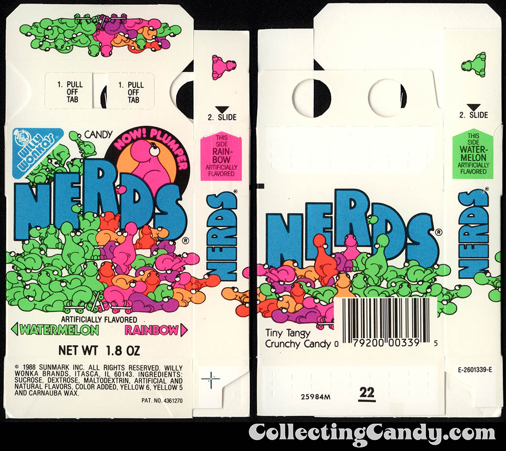 Sunmark - Willy Wonka Brands - Nerds - Watermelon & Rainbow - Now Plumper - 1.8 oz candy box - 1988