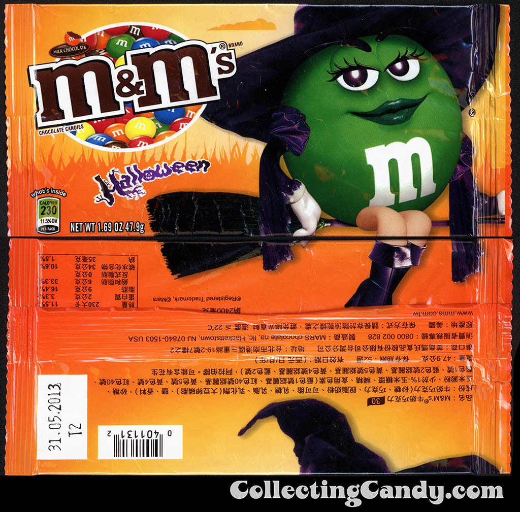 Taiwan - Mars - M&M's Milk Chocolate - Green Witch - 1.69 oz Halloween candy package - 2012