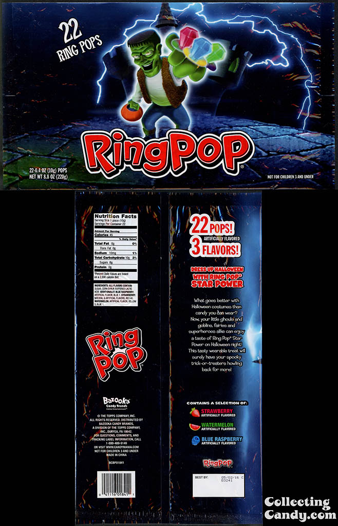 Topps - Bazooka - Ring Pop - 8_8oz 22 pops Halloween Frankenstein multi-bag package - 2014