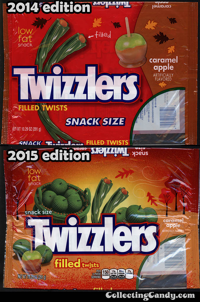Twizzlers Caramel Apple packages 2014 vs 2015 edition comparison