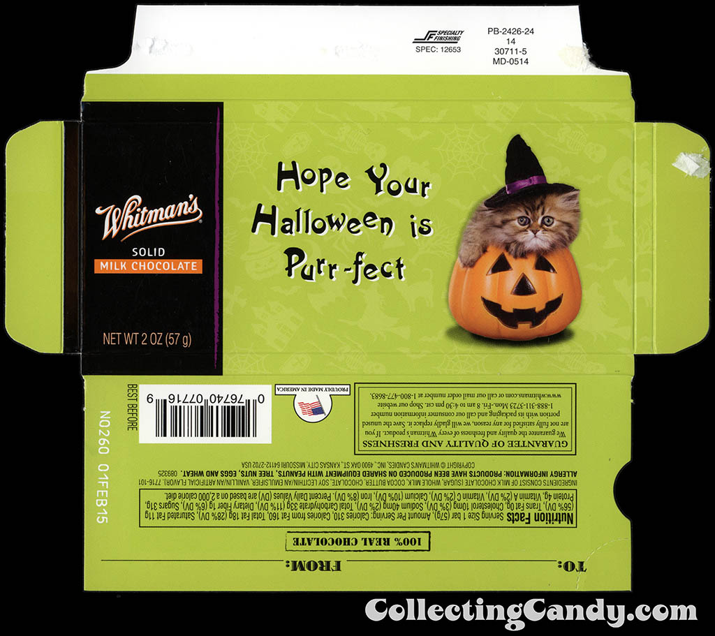 Whitman's - Halloween Pets - Cat - Hope Your Halloween is Purr-fect - 2 oz chocolate bar box - October 2014
