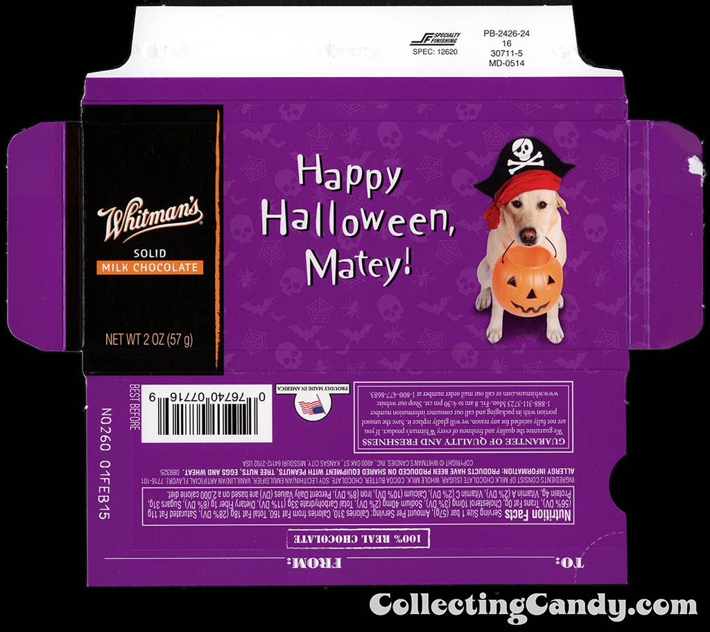Whitman's - Halloween Pets - Dog - Happy Halloween Matey - 2 oz chocolate bar box - October 2014