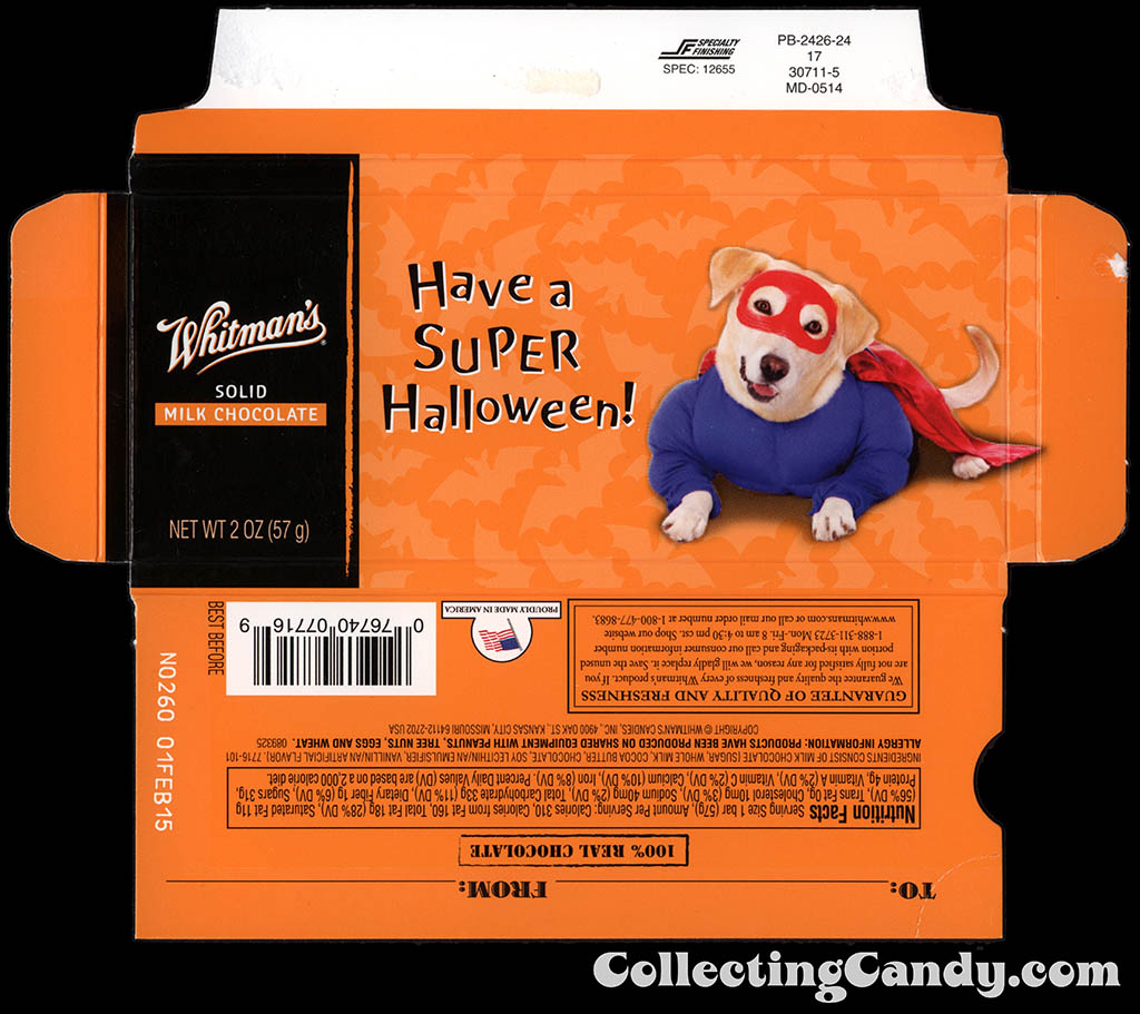 Whitman's - Halloween Pets - Dog - Have a Super Halloween - 2 oz chocolate bar box - October 2014
