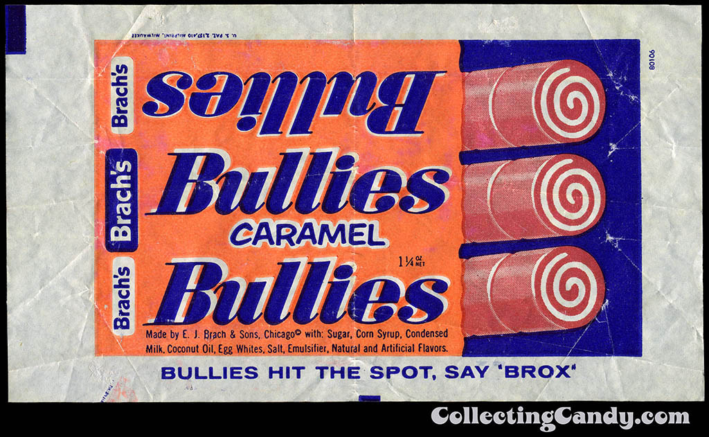 Brach's Bullies Caramel - 1 1/4 oz candy bar wrapper - late 1950's to early 1960's