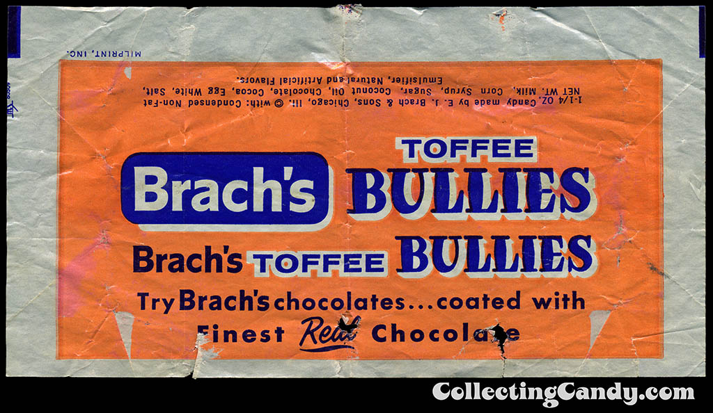 Brach's Bullies Toffee - 1 1/4 oz candy bar wrapper - late 1950's to early 1960's
