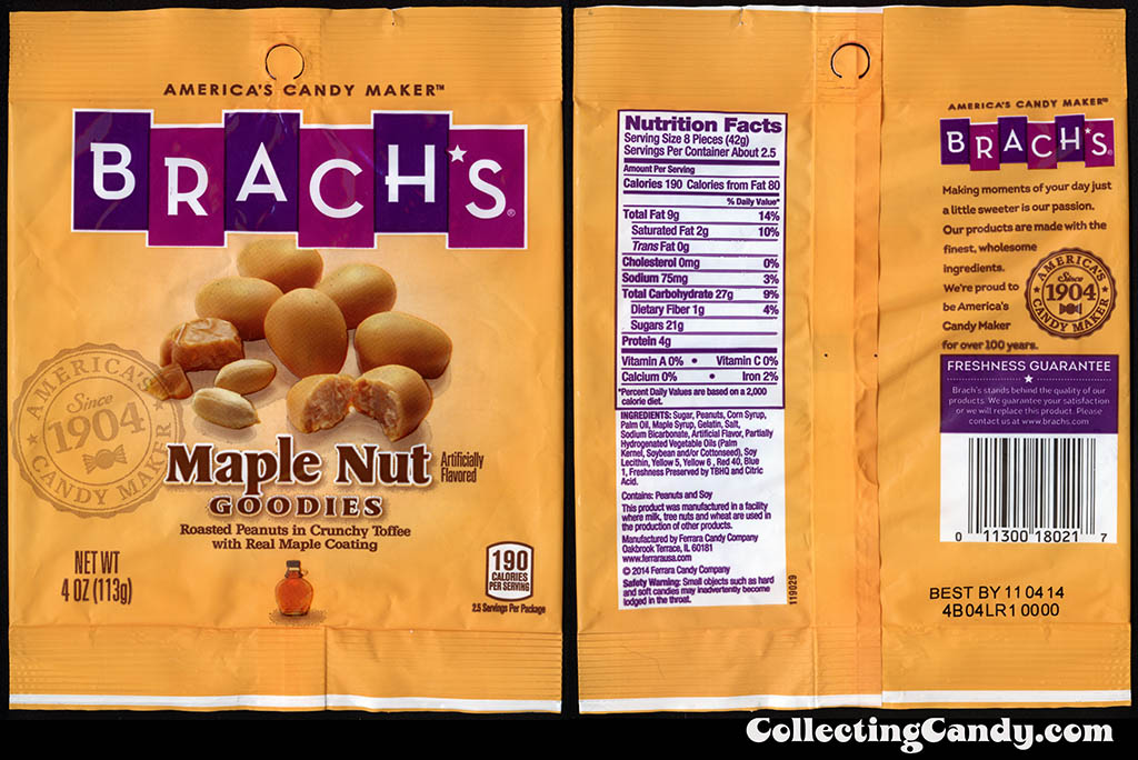 Brach's - Maple Nut Goodies - 4oz candy package - 2014