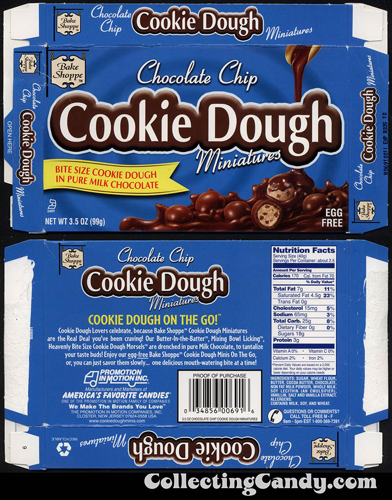 Promotions in Motion - Bake Shoppe - Chocolate Chip Cookie Dough Miniatures - 3.5 oz candy box - January 2013