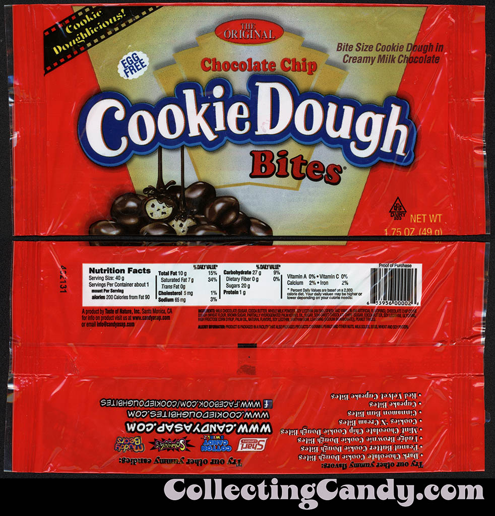 Taste of Nature - CandyASAP - Chocolate Chip Cookie Dough Bites - 1.75 oz cellophane candy package - September 2014
