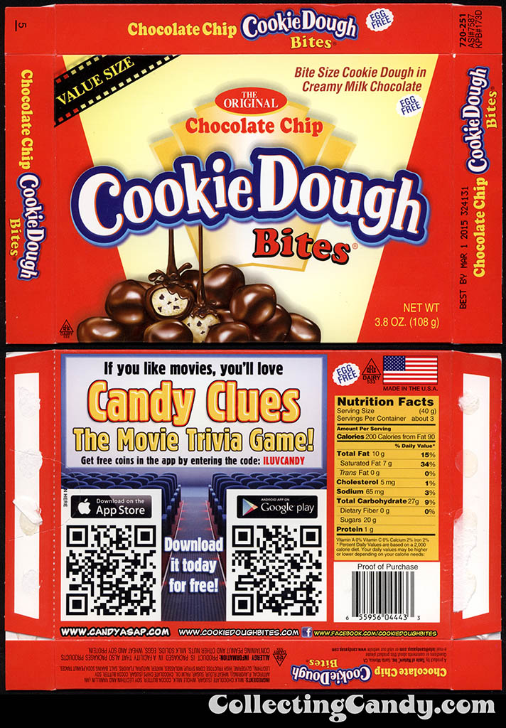 Taste of Nature - CandyASAP - Chocolate Chip Cookie Dough Bites - Candy Clues Game - Value Size 3.8 oz candy box - September 2014