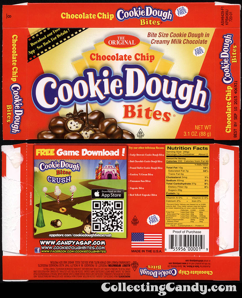 Taste of Nature - CandyASAP - Chocolate Chip Cookie Dough Bites - Cookie Dough Crush game - 3.1 oz candy box - September 2014