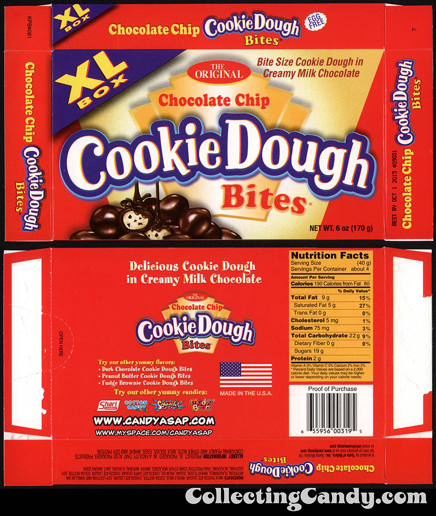 Taste of Nature - CandyASAP - Chocolate Chip Cookie Dough Bites - XL Box - 6 oz candy box - September 2014