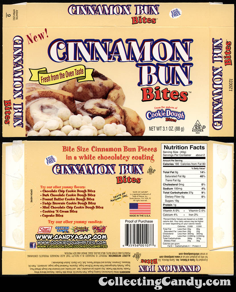 Taste of Nature - CandyASAP - Cinnamon But Bites - New - 3.1 oz candy box - January 2014