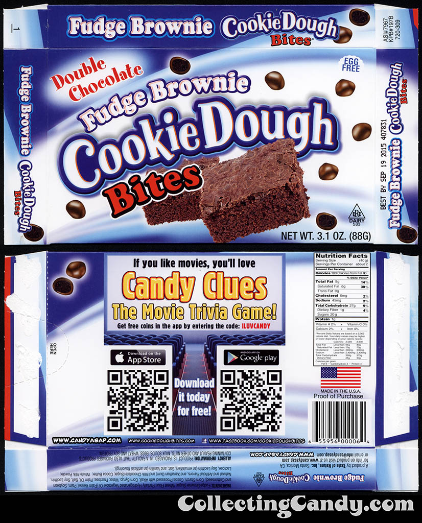 Taste of Nature - CandyASAP - Double Chocolate Fudge Brownie Cookie Dough Bites - Candy Clues Trvia game - 3.1 oz candy box - September 2014