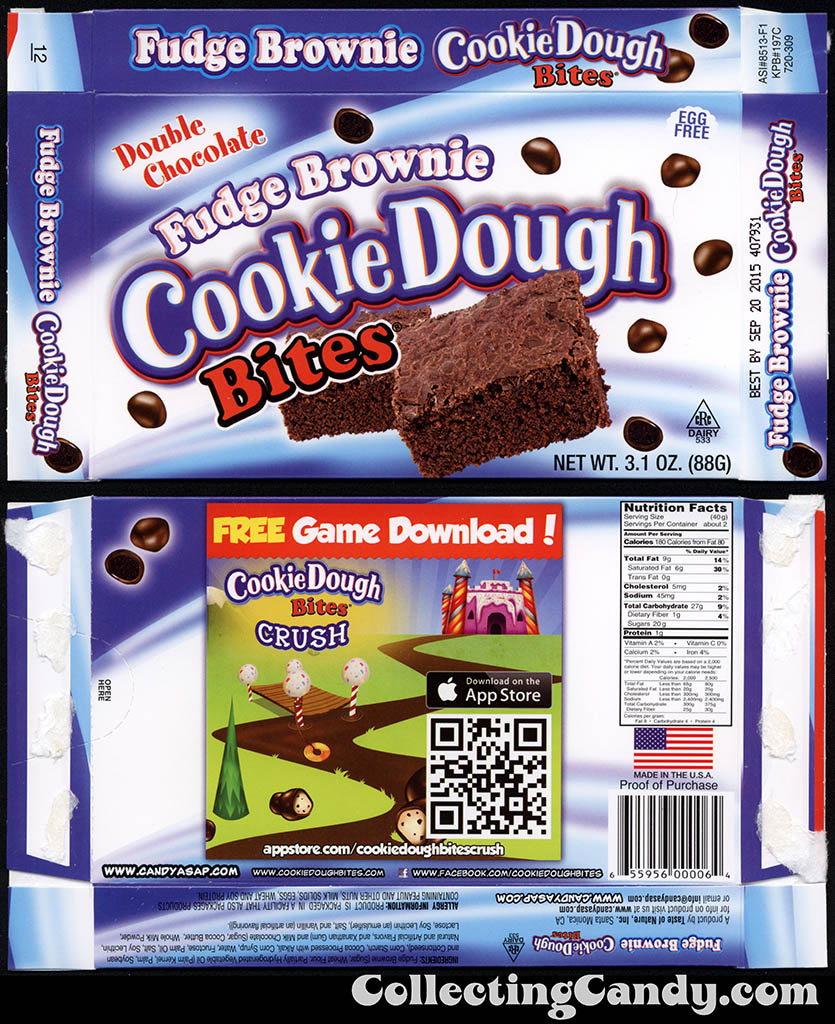 Taste of Nature - CandyASAP - Double Chocolate Fudge Brownie Cookie Dough Bites - Cookie Dough Crush game - 3.1 oz candy box - September 2014