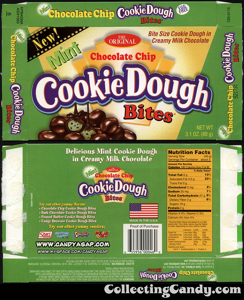 Taste of Nature - CandyASAP - Mint Chocolate Chip Cookie Dough Bites - New - 3.1 oz candy box - January 2013
