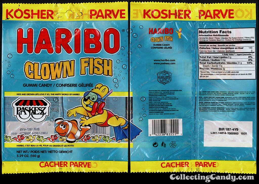 Haribo - Paskesz - Clown Fish - gummy - 5.29oz Kosher gummi candy package - 2015