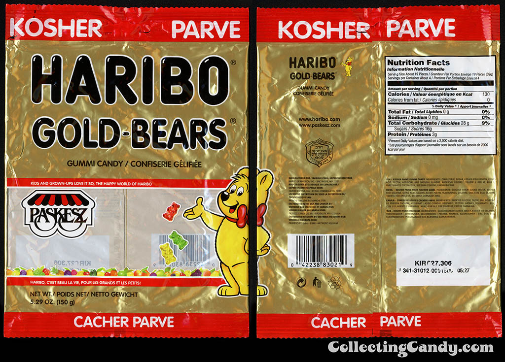 Haribo - Paskesz - Gold-Bears - gummy bears - 5.29oz Kosher gummi candy package - 2015