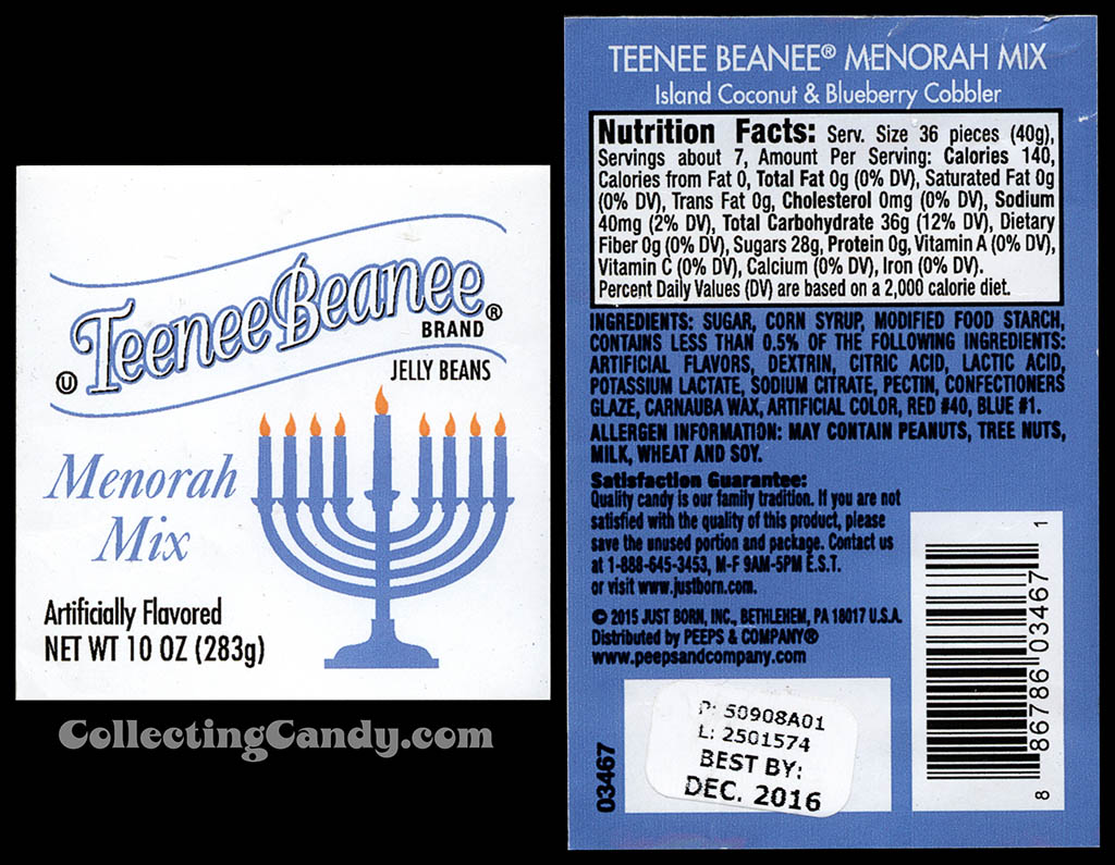 Just Born - Teenee Beanee - Menorah Mix - 10oz Hanukkah jelly beans package labels - December 2015