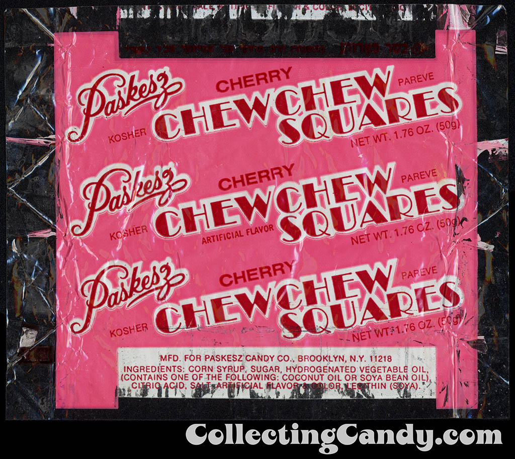 Paskesz - Chew Chew Squares - Cherry - 1.76oz Kosher candy wrapper - 1970's