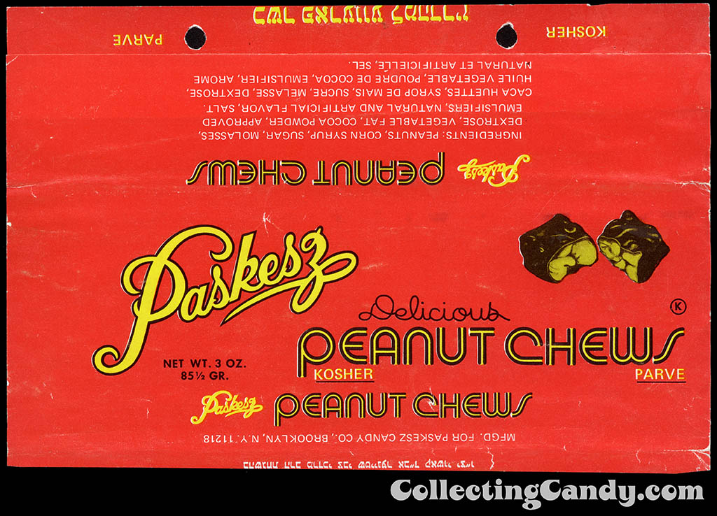 Paskesz - Peanut Chews - 3oz Kosher candy bar wrapper - late 1970's