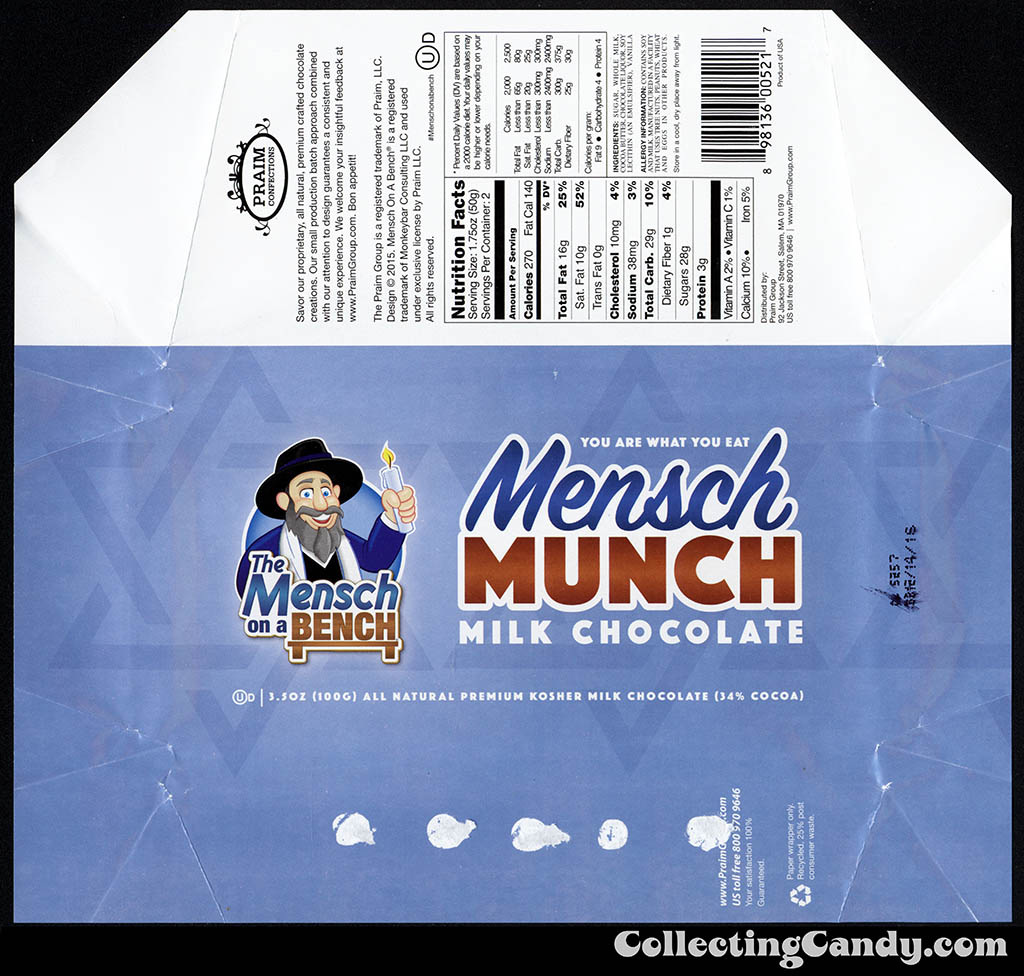Praim Confections - The Mensch on a Bench - Mensch Munch - milk chocolate - 3.5 oz candy bar wrapper - November 2015
