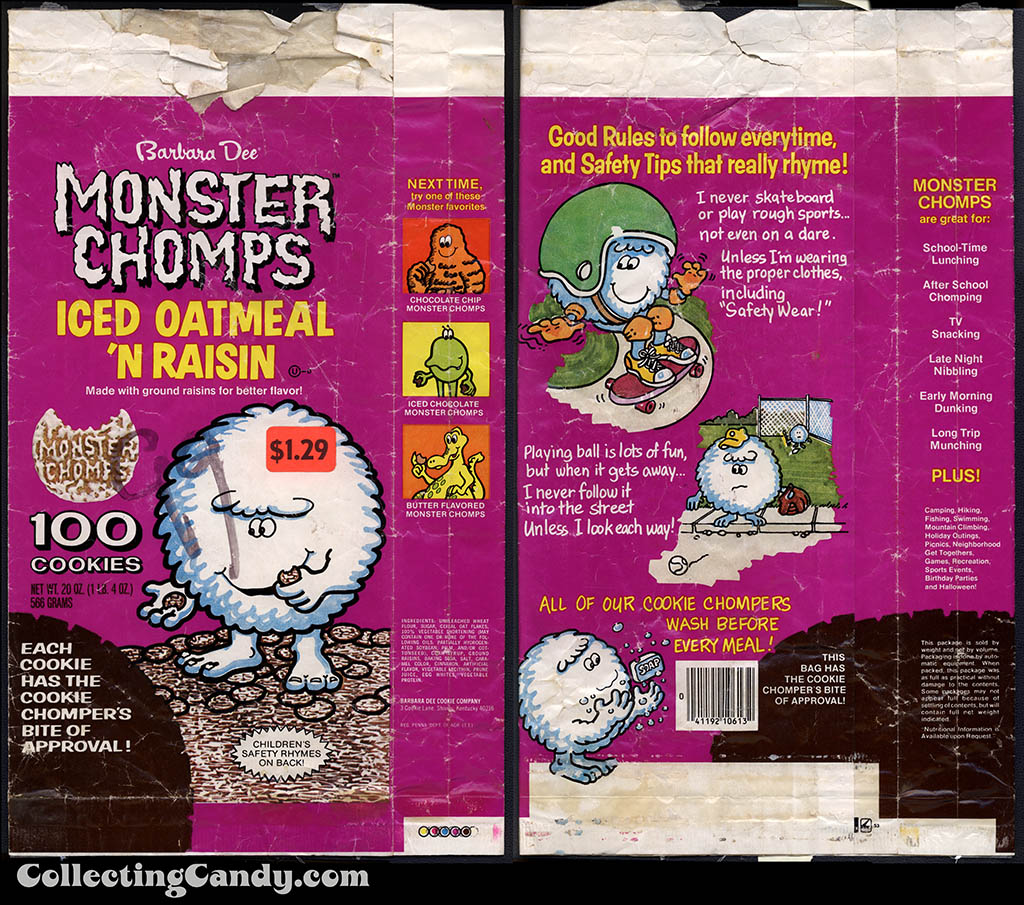 Barbara Dee - Monster Chomps Iced Oatmeal 'n Raisin - cookie bag packaging - 1970's