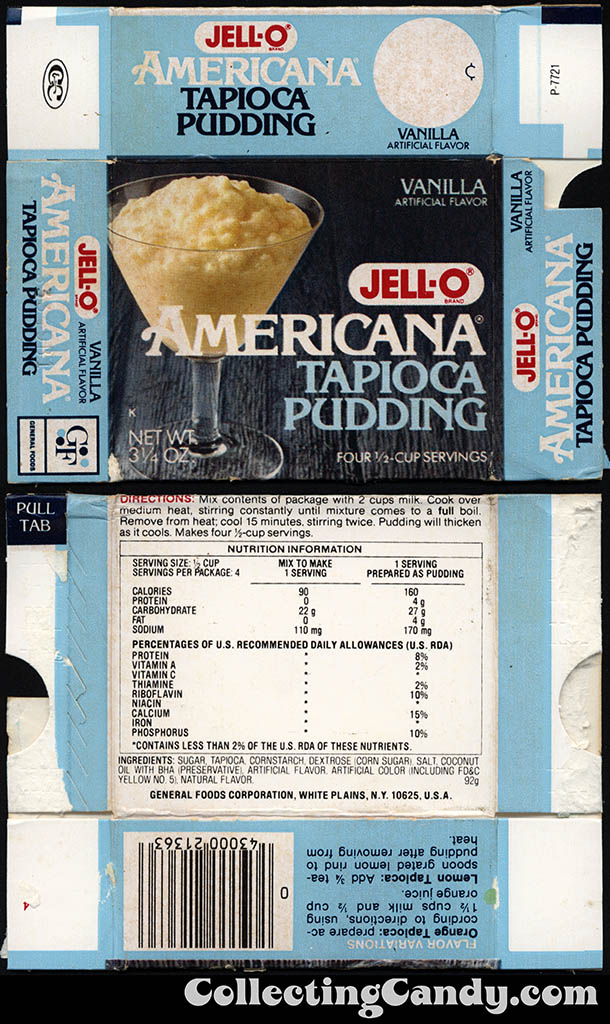 General Foods - Jell-O Americana Tapioca Pudding Vanilla mix - 3 1/4oz mix package box - 1976