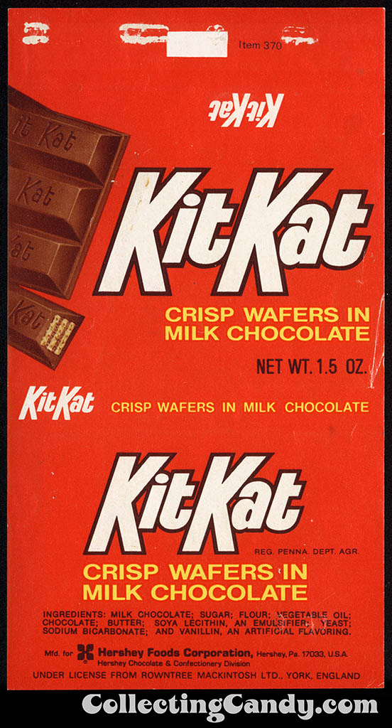 Hershey Foods - Under License from Rowntree-Mackintosh - Kit Kat - 1.5 oz chocolate candy bar wrapper - 1970-1973