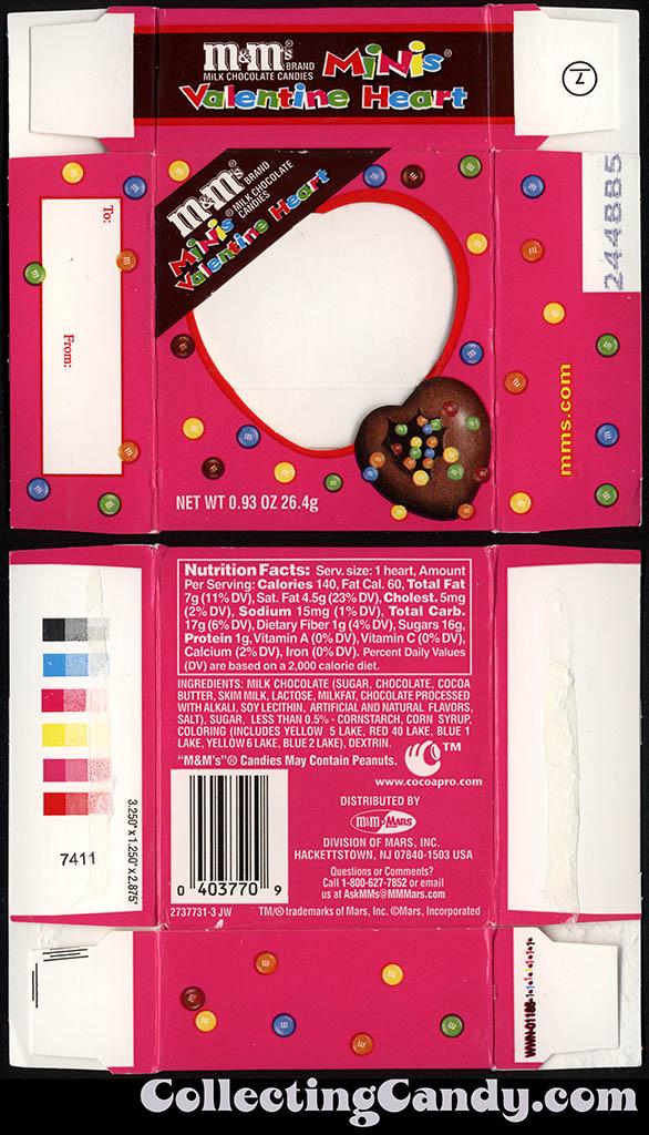 Mars - M&M's Minis Valentine Heart - 0.93oz Valentine's candy box - 2001