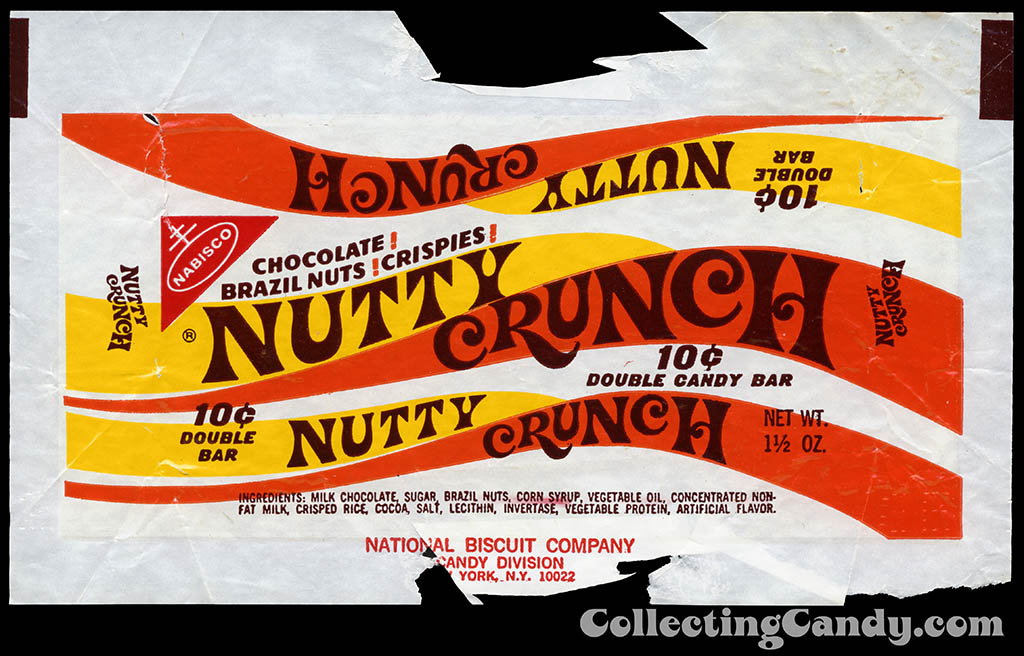Nabisco - Nutty Crunch - 10-cent double bar - 1 1/2oz chocolate bar candy wrapper - 1969