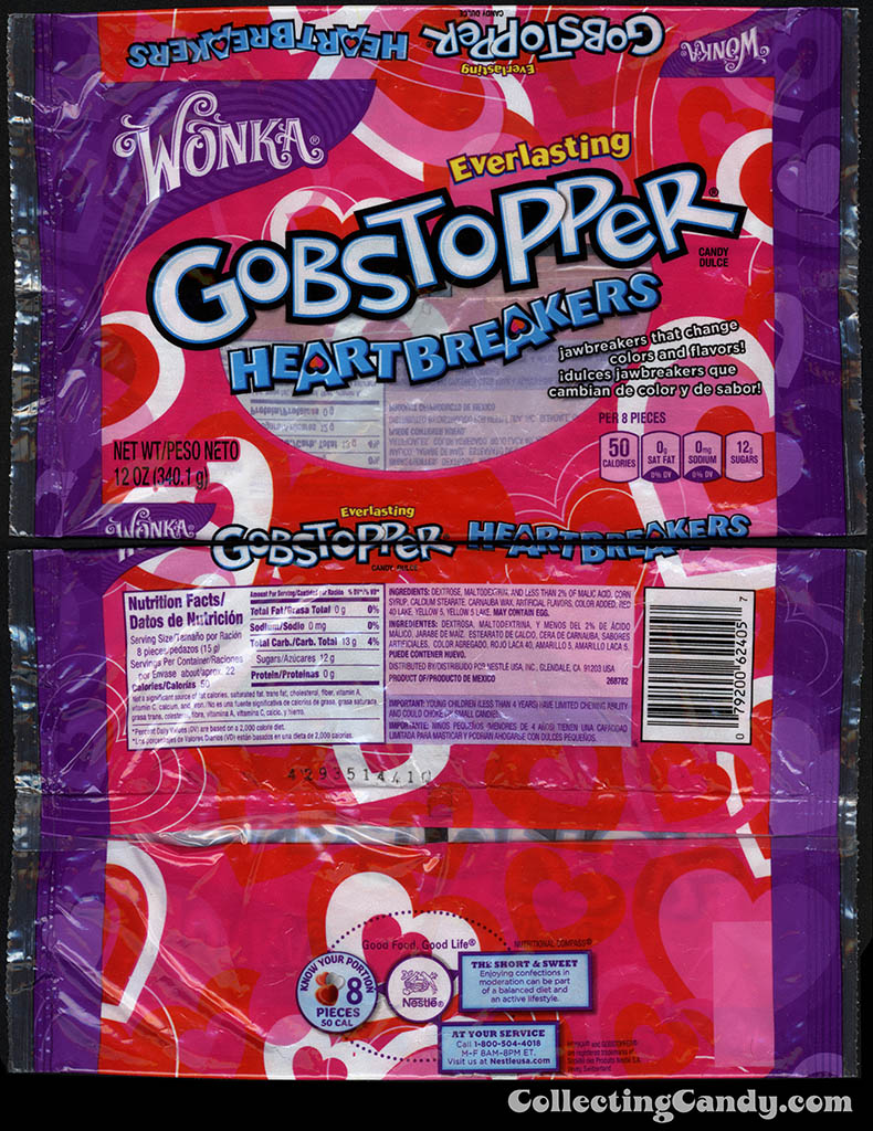 Nestle - Wonka -Gobstopper Heartbreakers - 12oz Valentine's candy package - January 2015