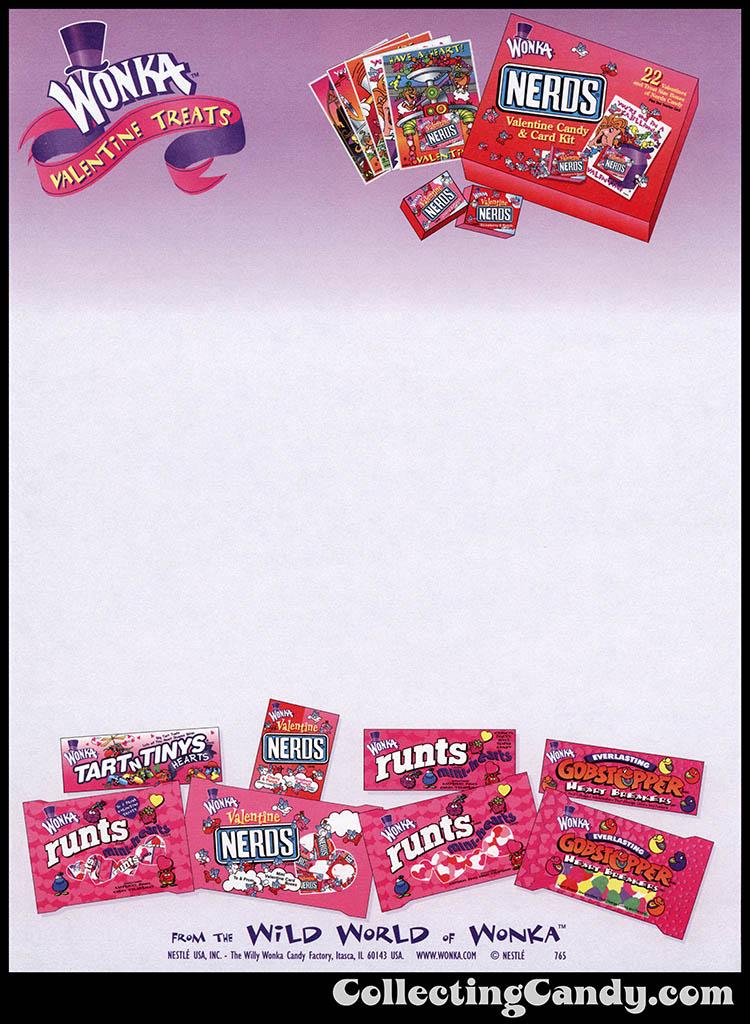 Nestle - Wonka - Valentine Treats promotional stationery - mid-to-late 1990's