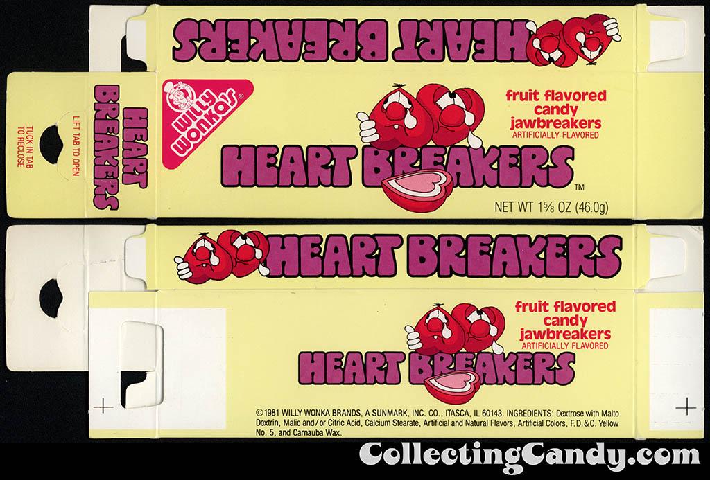 Sunmark - Willy Wonka Brands - Heart Breakers - 1 5/8 oz candy box - 1981 - test market prototype