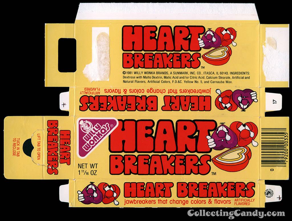 Sunmark - Willy Wonka's - Heartbreakers - 1 11/16 oz Valentine's candy box - 1983