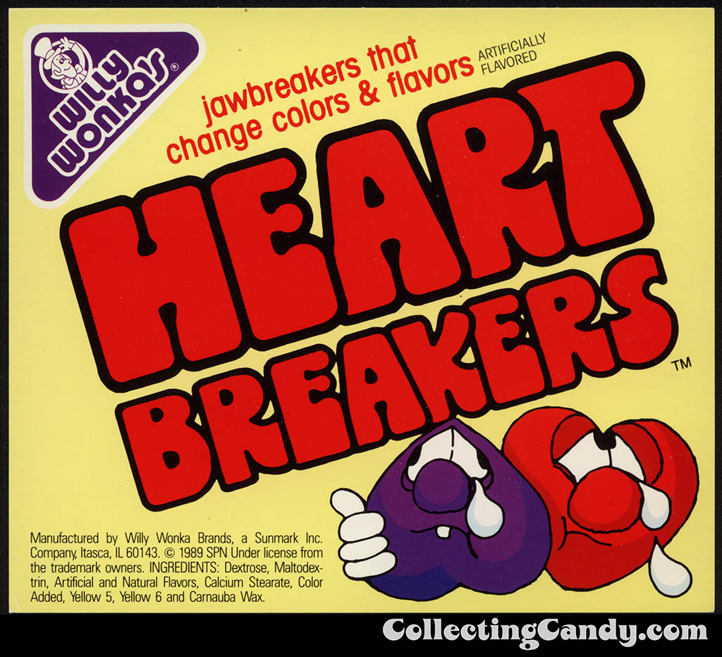 Sunmark - Willy Wonka's - Heartbreakers - jawbreakers candy vending machine insert card - 1989