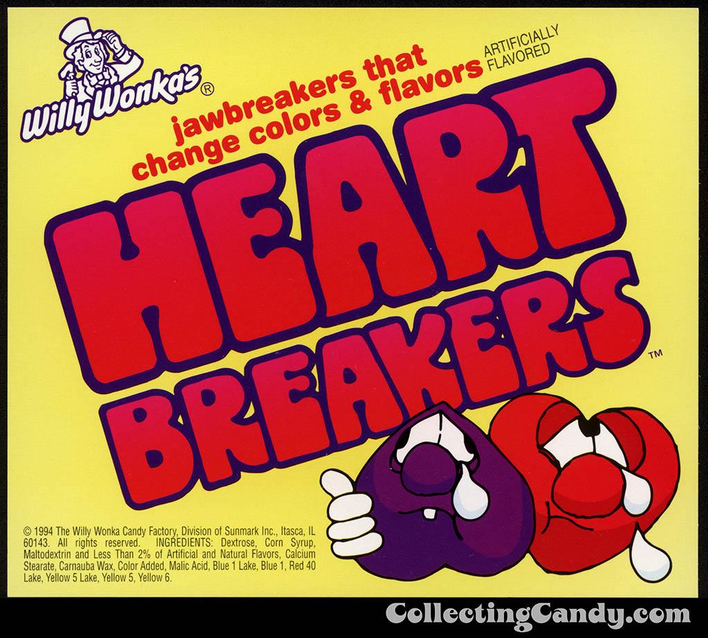 Sunmark - Willy Wonka's - Heartbreakers - jawbreakers candy vending machine insert card - 1994