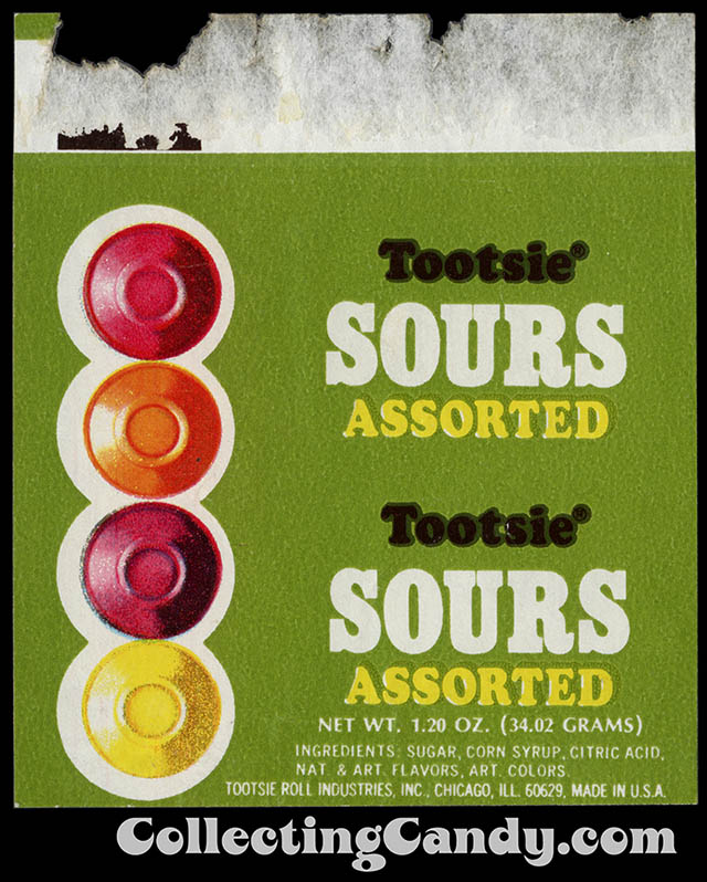 Tootsie Sours Assorted - 1_20 oz - roll candy wrapper - circa late 1960's to early 1970's