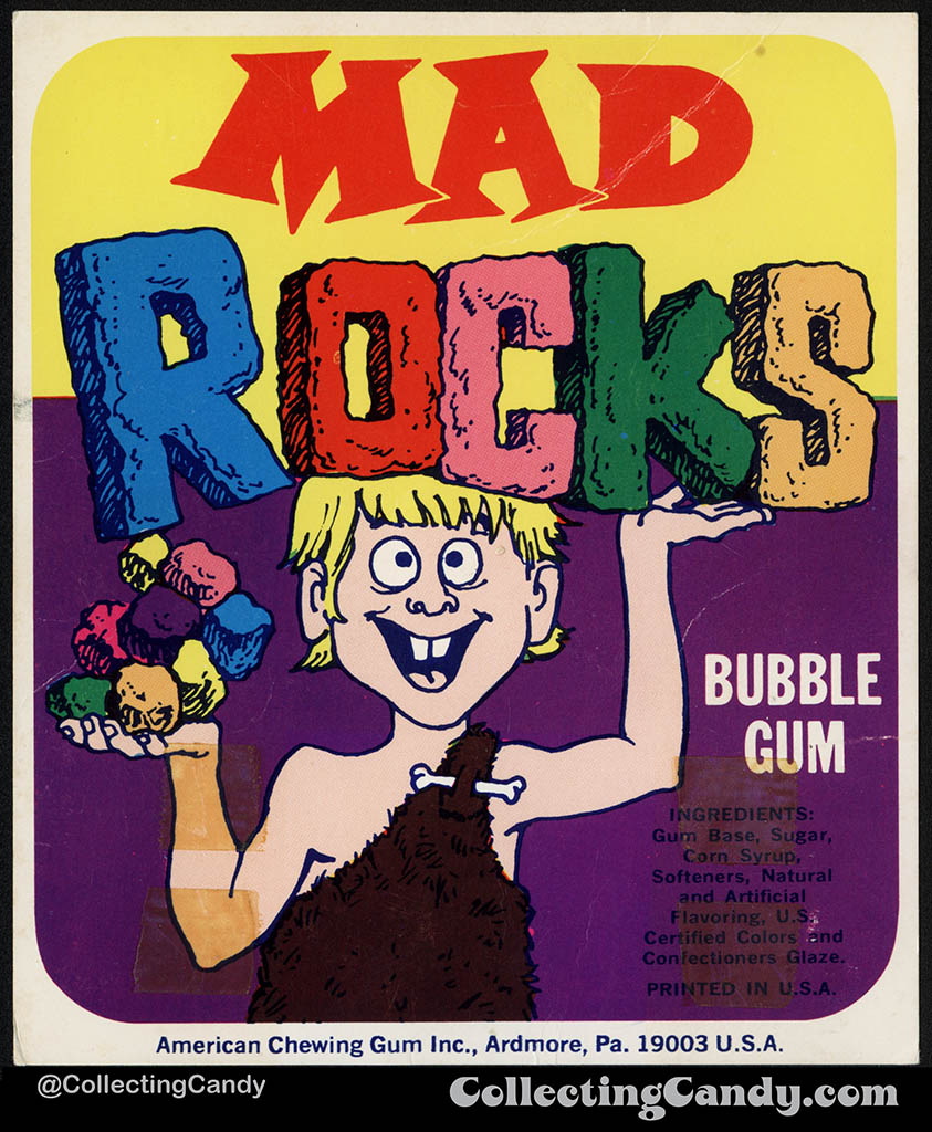 American Chewing Gum - Mad Rocks bubble gum - vending machine insert card - 1970's