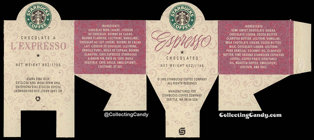 Canada - Starbucks Coffee - Espresso Chocolates - 6oz chocolate cardboard band label - 1993