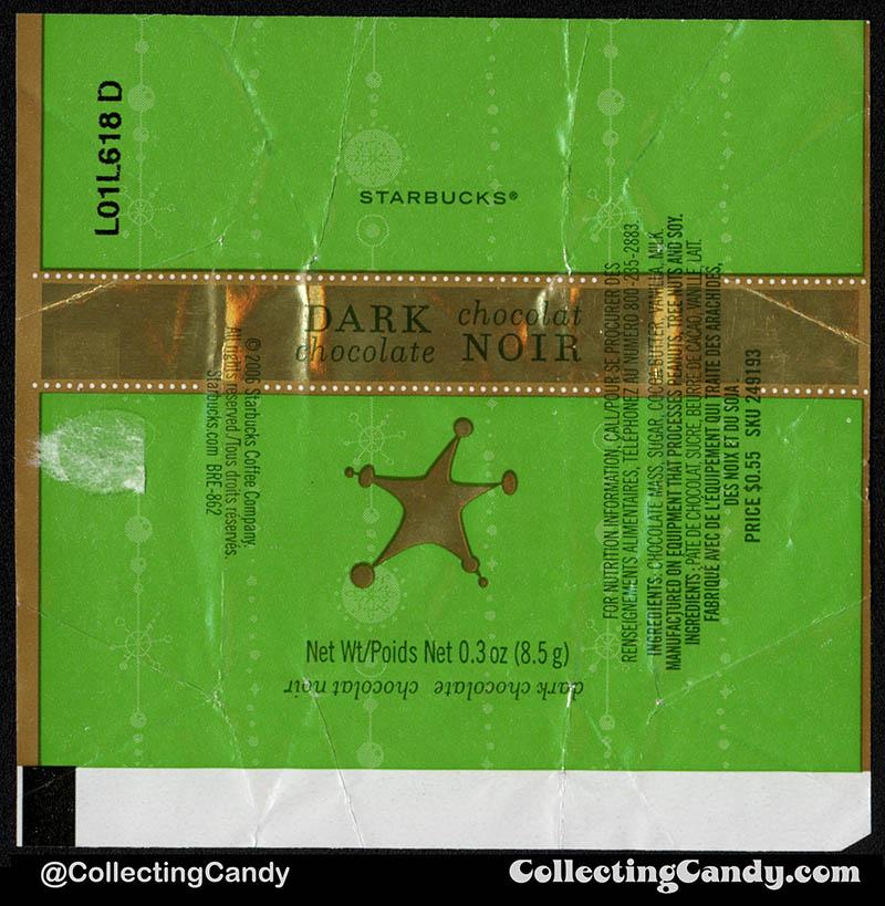 Canada - Starbucks - Dark Chocolate Chocolat Noir - _3 oz 55-cent single Holiday chocolate wrapper - 2006