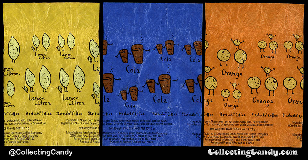 Canada - Starbucks - Lemon, Cola, Orange hard candy individual wrappers - circa 1990's to 2000's
