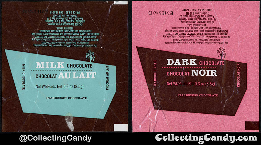 Canada - Starbucks - Milk Chocolate & Dark Chocolate _3 oz 55-cent singles chocolate wrappers - 2005