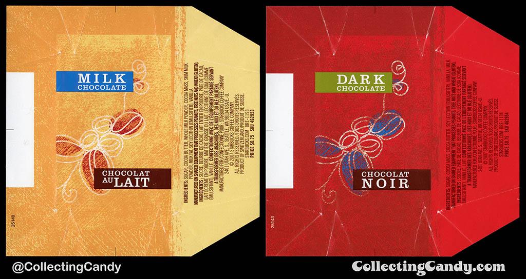 Canada - Starbucks - Milk Chocolate & Dark Chocolate _75-cent singles chocolate wrappers - 2007