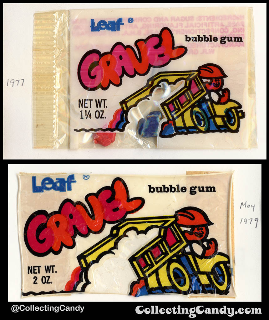 _Leaf - Gravel Bubble Gum - 1 1_4oz and 2oz packages - bubblegum wrapper packs - 1977 & 1979