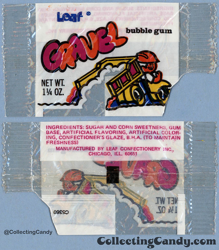 Leaf - Gravel Bubble Gum - 1 1/4oz package - bubblegum wrapper - 1975-76