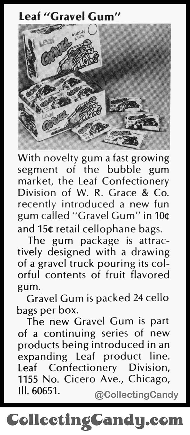 Leaf Gravel Gum - introduction - Candy Trade Magazine Clipping - October 1975