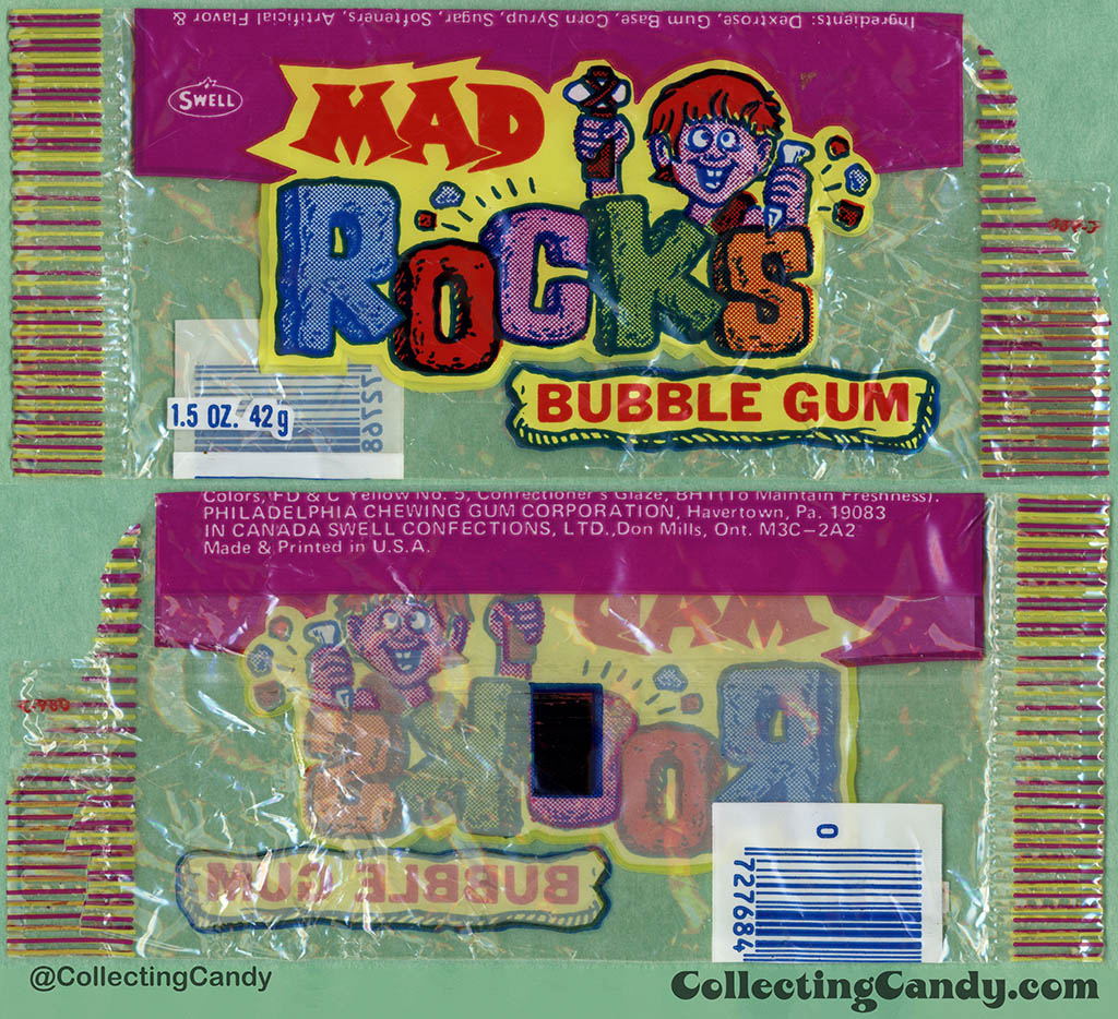 Philadelphia Chewing Gum - Swell - Mad Rocks bubble gum - 1.5 oz cellophane gum candy package - 1979-1980
