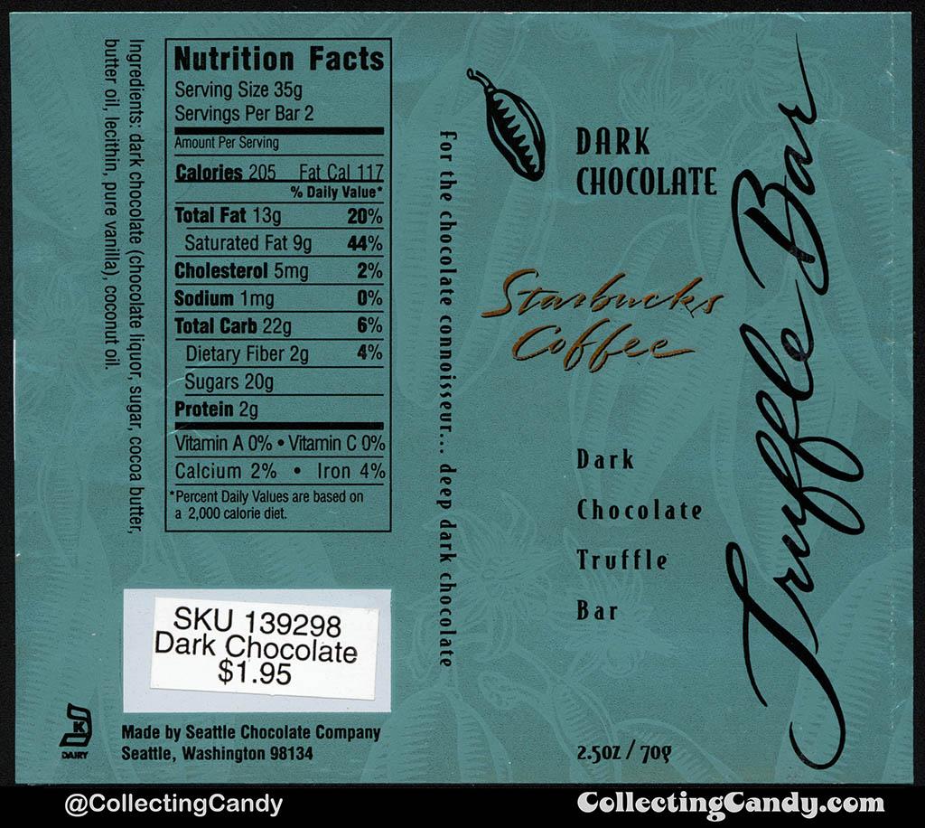 Seattle Chocolate Company - Starbucks Coffee Dark Chocolate Truffle Bar - 2.5oz chocolate candy bar wrapper - mid-1990's