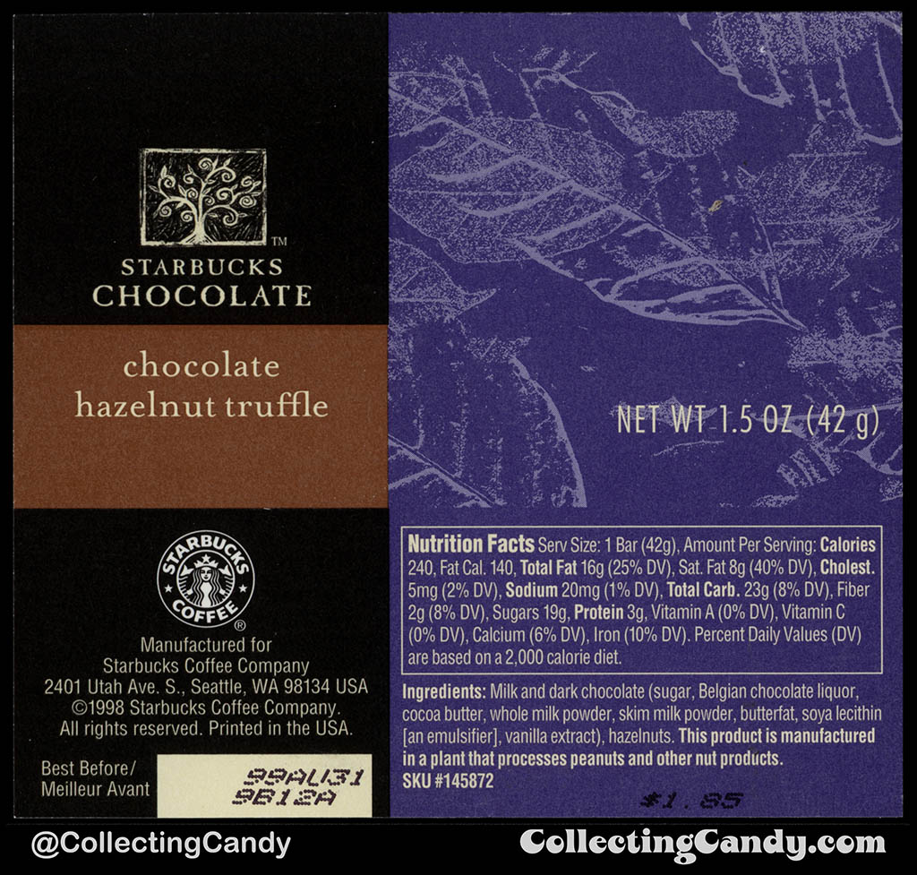 Starbucks Chocolate - Chocolate Hazelnut Truffle - 1.5 oz chocolate candy bar wrapper - 1998